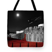 Red Poppies At Tower Of London With Spitfire Flypast Tote Bag