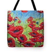 Red Poppies By Prankearts Tote Bag