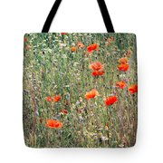 Red Poppies In A Summer Sun Tote Bag