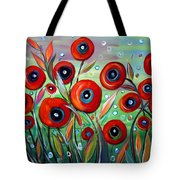 Red Poppies In Grass Tote Bag