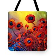 Red Poppies In Rain Tote Bag