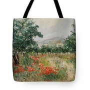 Red Poppies In The Olive Garden Tote Bag