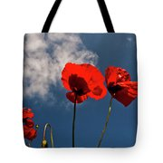 Red Poppies On Blue Sky Tote Bag