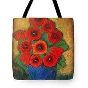 Red Poppies In Blue Vase Tote Bag