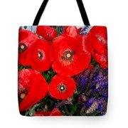 Red Poppy Cluster With Purple Lavender Tote Bag