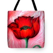Red Poppy Flower. Pink Sunset Tote Bag