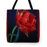 Red Princess Tulip On Blue Tote Bag