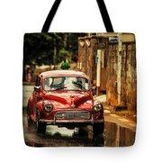 Red Retromobile. Morris Minor Tote Bag