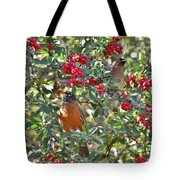 Red Robin And Cedar Waxwing 1 Tote Bag