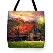 Red Roof At Sunset Tote Bag