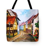 Red Roof - Palette Knife Oil Painting On Canvas By Leonid Afremov Tote Bag