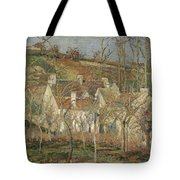 Red Roofs, Corner Of A Village, Winter Tote Bag