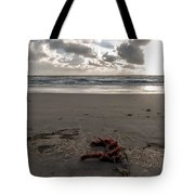 Red Rope On The Beach Tote Bag