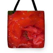 Red Rose After Rain Tote Bag