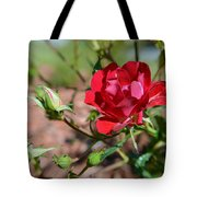 Red Rose And Buds Tote Bag