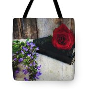 Red Rose And Sage With Vintage Books Tote Bag