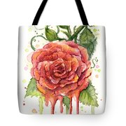Red Rose Dripping Watercolor  Tote Bag