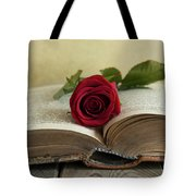 Red Rose On An Old Big Book Tote Bag