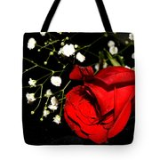 Red Rose With Baby Breath Tote Bag