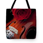 Red Rose With Violin Tote Bag by Garry Gay