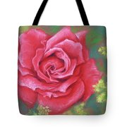 Red Rose With Yellow Lady's Mantle Tote Bag
