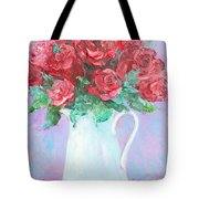 Red Roses In White Jug Tote Bag by Jan Matson
