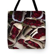 Red Roses Wrapped In Paper Displayed Tote Bag