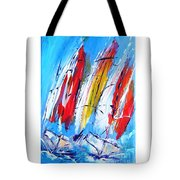 Red Sails On Blue  Tote Bag