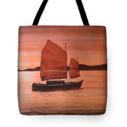Red Sea With Chinese Boat Tote Bag