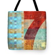 Red Seven And Stripes Mixed Media Tote Bag