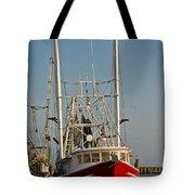 Red Shrimp Boat Tote Bag