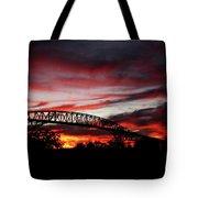 Red Skies At Pleasure Island Bridge Tote Bag