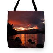 Red Skies Over Loch Rannoch Tote Bag