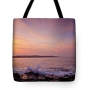 Red Sky And Storm Waves Tote Bag