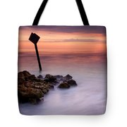 Red Sky Caution Tote Bag by Mike  Dawson