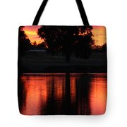 Red Sky Reflection With Tree Tote Bag