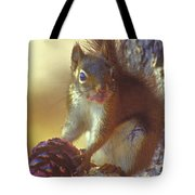 Red Squirrel With Pine Cone Tote Bag