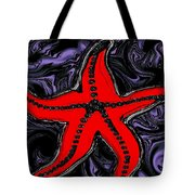 Red Starfish In Stormy Seas Tote Bag