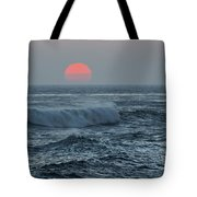 Red Sun With Wave Tote Bag