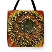 Red Sunflower Macro Tote Bag