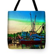 Red Sunrise And The Shrimp Boat Tote Bag