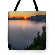 Red Sunrise At Crater Lake Tote Bag by John Hight