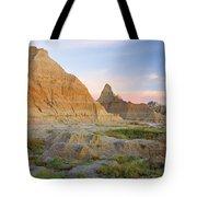 Red Sunrise On The Hills Of Badlands Tote Bag