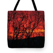 Red Sunrise Over The Ozarks Tote Bag
