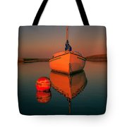 Red Sunrise Reflections On Sailboat Tote Bag