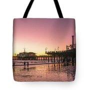 Red Sunset In Santa Monica Tote Bag