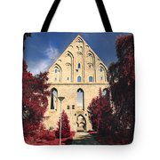 Red Surreal Abbey Ruins Tote Bag