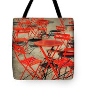 Red Tables And Chairs Tote Bag