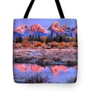 Red Tip Teton Reflection Panorama Tote Bag
