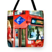 Red Tourist Bus In New York Tote Bag